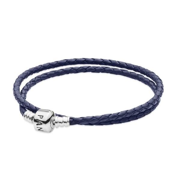 Pandora Jewelry - Dark Blue Braided Leather Charm Bracelet Small